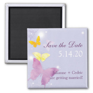 Purple + Periwinkle Butterfly Wedding Invitation Square Magnet