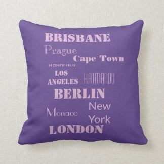 Purple Personal Travel Destination Cushion