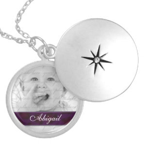 Purple Personalised Photo Locket Necklace