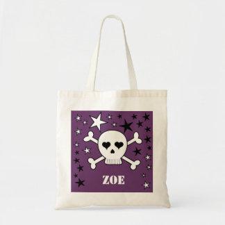 Purple Personalizable Cute Crossbone Skull & Stars