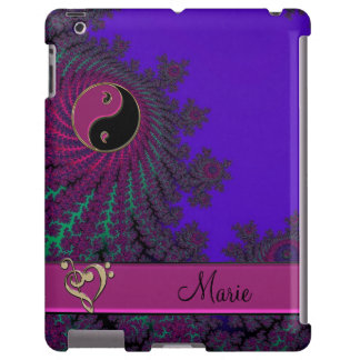 Purple Personalized Fractal Yin-Yang Music Heart iPad Case