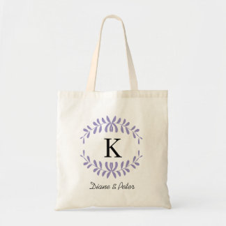 Purple Personalized Monogram Wedding Favour Budget Tote Bag