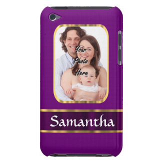 Purple personalized photo barely there iPod case