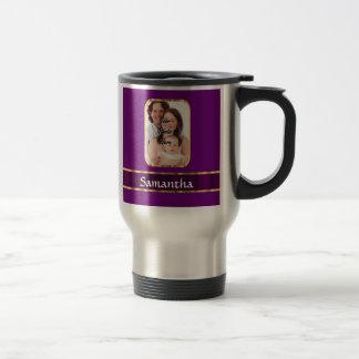 Purple personalized photo stainless steel travel mug