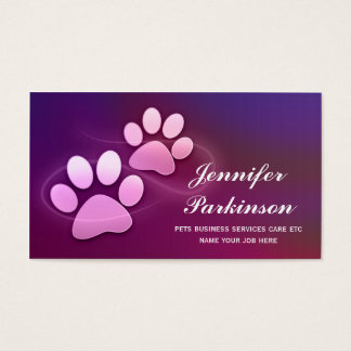purple pet paws business cards