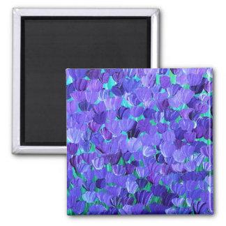 Purple Petals Square Magnet