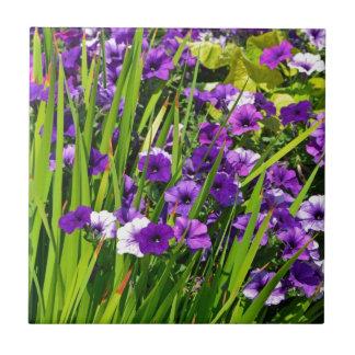 Purple petunia floral print tiles