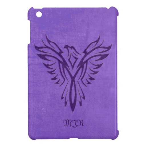 Purple Phoenix Fire Bird with Monogram, Initials Cover For The iPad Mini