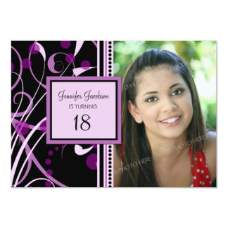 Purple Photo 18th Birthday Party Invitations