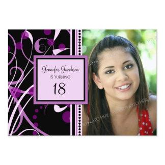 "Purple Photo 18th Birthday Party Invitations 5"" X 7"" Invitation Card"
