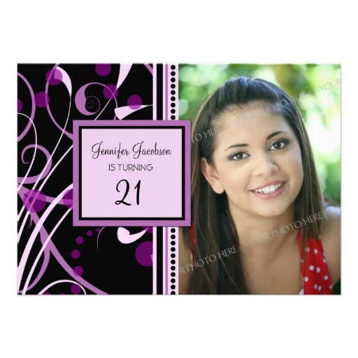 Purple Photo 21st Birthday Party Invitations
