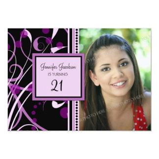 Purple Photo 21st Birthday Party Invitations