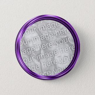 purple photo frame 6 cm round badge
