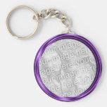purple  photo frame key chain