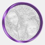 purple photo frame round sticker