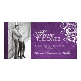Purple Photo Save The Date Invitation Customized Photo Card