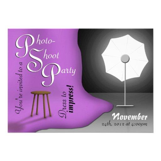 Purple Photoshoot Party Invitations