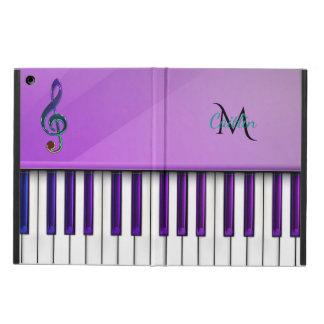 Purple Piano Monogram Music Clef iPad Air Cases