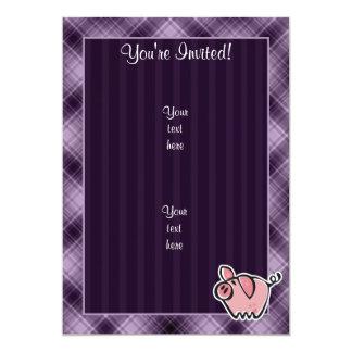 Purple Pig 13 Cm X 18 Cm Invitation Card