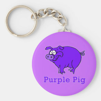 Purple Pig on Apparel, Mugs, Baby Shirts Basic Round Button Key Ring