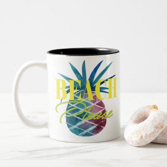 PURPLE PINEAPPLE - BEACH PLEASE Two-Tone COFFEE MUG