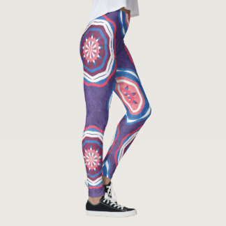Purple Pink Abstract Mandala Leggings