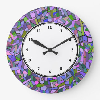 Purple Pink Abstract Mosaic Pattern clock