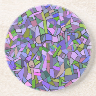 Purple Pink Abstract Mosaic Pattern Coaster