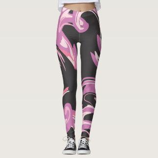 Purple Pink and black designed leggings