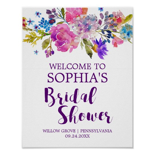 Purple Pink and Blue Flowers Bridal Shower Welcome