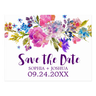 Purple Pink and Blue Flowers Wedding Save the Date Postcard
