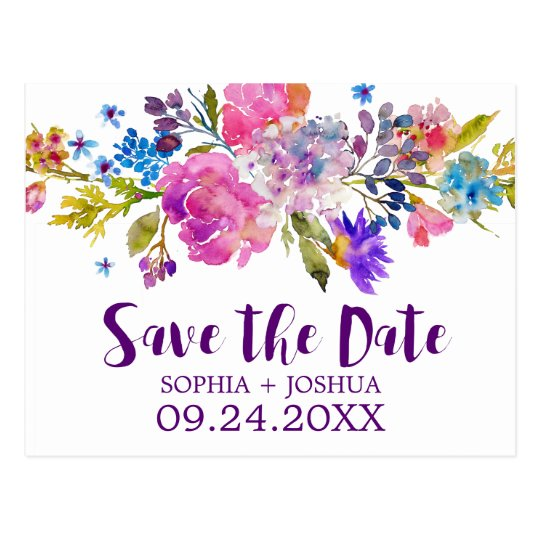 Purple Pink and Blue Flowers Wedding Save the