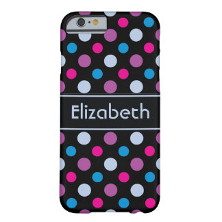 Purple Pink and Blue Polka Dots Personalized Barely There iPhone 6 Case