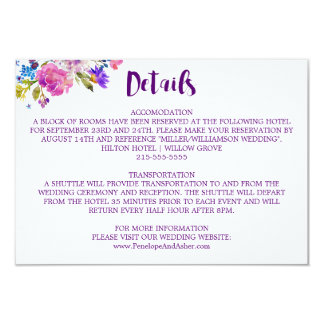 Purple Pink and Blue Posy Flowers Wedding Details Card