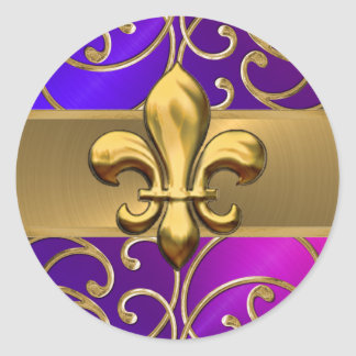 Purple Pink and Gold Filigree Swirls Fleur de Lis Classic Round Sticker