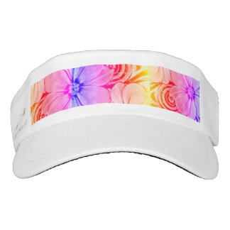 Purple, Pink and Orange Floral Visor