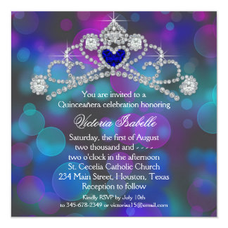 Purple Pink and Teal Blue Quinceanera 13 Cm X 13 Cm Square Invitation Card