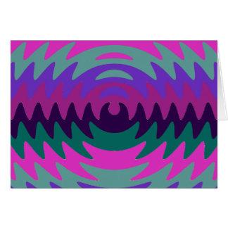 Purple Pink Aqua Saw Blade Ripples Waves Note Card