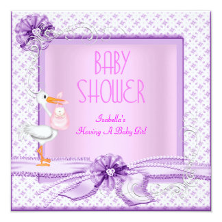 Purple Pink Baby Shower Girl Floral 13 Cm X 13 Cm Square Invitation Card