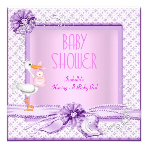 Purple Pink Baby Shower Girl Floral Personalized Invitations