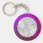 purple pink basic round button key ring