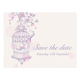 Purple pink bird cage wedding save the date card