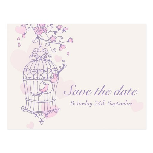 Purple pink bird cage wedding save the date card post cards