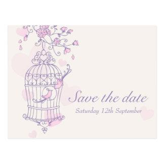 Purple pink bird cage wedding save the date card postcard