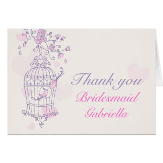 Purple pink bird wedding bridesmaid thank you card