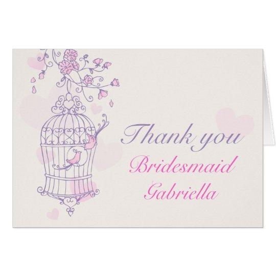 Purple pink bird wedding bridesmaid thank you card
