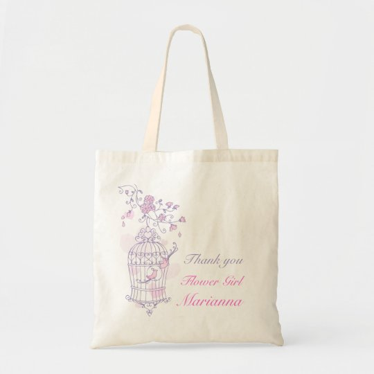 Purple pink bird wedding flower girl bag