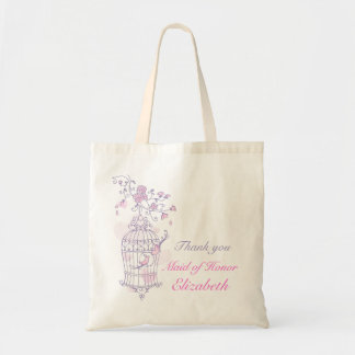 Purple pink bird wedding maid of honor bag