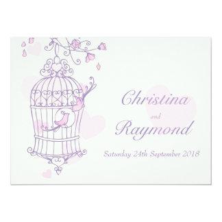 "Purple pink birds open cage wedding invitation 5.5"" x 7.5"" invitation card"