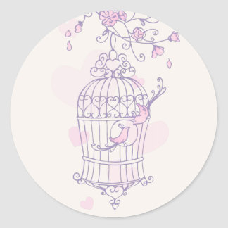 Purple & pink birds open cage wedding sticker